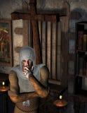 Nadenkende Ridders in de gebedruimte stock illustratie
