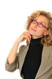 Nadenkende vrouw Stock Foto