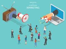 Naderend versus uitgaande marketing isometrische vector vector illustratie