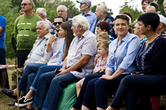 August 28, 2017: Ukrainian politician, deputy Nadezhda Savchenko is watching a horse-sporting holiday in the Ukrainian village of Royalty Free Stock Images