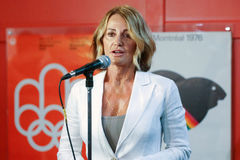 Nadia Comaneci. Olympic gymnast Nadia Comaneci talks to the media about her performance 40 years ago at the 1976 Montreal,Olympic games Royalty Free Stock Photos
