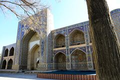 Nadir Divan-Begi Madrasah. Is a part of the architectural complex located round well-known Lyabi-Hauz in Bukhara. The madrasah building, as well as khanaka stock images
