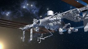 Nadir side of the  International Space Station flying above Eart Royalty Free Stock Images