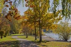 Nadjeziornego deptaka jeziorny tegernsee, piękny jesień krajobraz Obrazy Stock