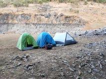 Nadjeziorny camping zdjęcie stock