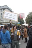 nadmiar matkują o paradeplatz protest Zurich obrazy stock