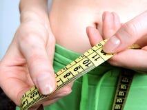 Nadmiernego brzucha pomiarów gruba talia po sprawności fizycznej Obraz Stock