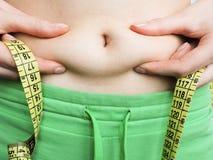 Nadmiernego brzucha pomiarów gruba talia po sprawności fizycznej Fotografia Stock
