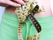 Nadmiernego brzucha pomiarów gruba talia po sprawności fizycznej Zdjęcia Stock