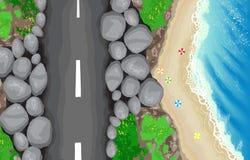 Nadmorski drogowy odgórny widok Zdjęcie Royalty Free