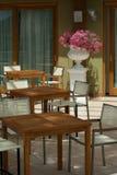 Nadmorski kawiarnia w ranku Fotografia Royalty Free