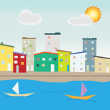 Nadmorski miasta architektura Zdjęcia Royalty Free