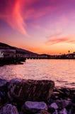 Nadmorski miasteczka linia horyzontu Fotografia Royalty Free