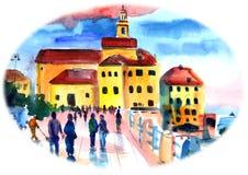 Nadmorski miasto w zmierzchu, ludzie chodzi wzdłuż deptaka ilustracja wektor