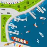 Nadmorski odgórnego widoku portowy powietrzny plakat ilustracji