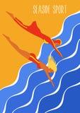 Nadmorski sporta ilustracja w art deco stylu Swimwear i burkini Ilustracja europejscy i Muzułmańscy swimsuits ilustracji