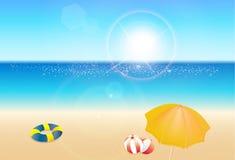 Nadmorski widoku plakat, piękny natura kurortu krajobraz, wakacje letni pojęcie ilustracji
