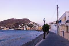 Nadmorski wioska Agia Marina, Leros wyspa, Grecja, w wieczór Fotografia Stock