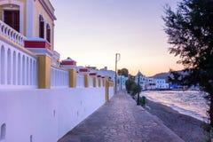 Nadmorski wioska Agia Marina, Leros wyspa, Grecja, w wieczór Obraz Royalty Free
