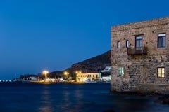 Nadmorski wioska Agia Marina, Leros wyspa, Grecja, w wieczór Zdjęcie Stock