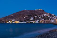 Nadmorski wioska Agia Marina, Leros wyspa, Grecja, w wieczór Zdjęcia Stock
