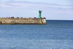 Nadmorski z czerwieni i zieleni latarniami morskimi Obrazy Royalty Free