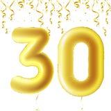 Nadmuchiwane złote piłki z spada confetti i wiszącymi faborkami Trzydzieści rok, symbol 30 Wektorowa ilustracja, logo lub Zdjęcie Stock