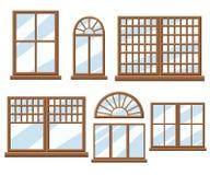 Nadokiennej ikony projekta stylu ustalona Płaska ilustracja Zdjęcia Stock