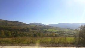 Nadokienny widok od samochodu, autobus, pociąg Podróżny słoneczny dzień zdjęcie wideo