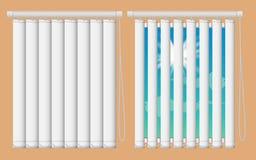 Nadokiennych stor mockup set Wektorowi realistyczni ilustracyjni okno z otwartym i zamykają vertical niewidome zasłony zdjęcia stock