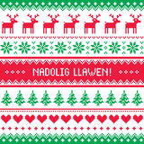 Nadolig Llawen - Merry Christmas in Welsh greetings card, seamless pattern Stock Photography
