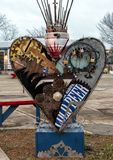 Nadrealistycznego metalu kierowy scupture Głęboki Ellum, Dallas, Teksas Obraz Royalty Free