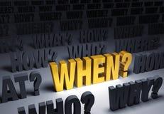 Nadruk bij het Vragen wanneer? Royalty-vrije Stock Afbeeldingen