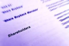 Nadruk op aandeelhouders stock afbeeldingen