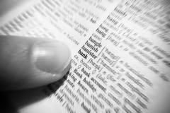 Nadruk op bankwoord op een woordenboek Stock Foto