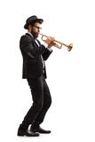 Nadruk op de vinger van de saxofoonspeler Stock Foto's