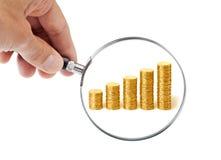 Nadruk op de Winsten van het Geld stock foto's