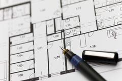 Nadruk op een architectonisch plan Stock Foto