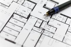 Nadruk op een architectonisch plan Royalty-vrije Stock Foto's