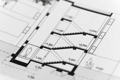 Nadruk op een architectonisch plan royalty-vrije stock afbeeldingen