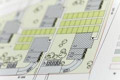 Nadruk op een architectonisch plan Stock Afbeelding