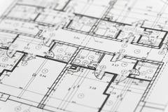Nadruk op een architectonisch plan Royalty-vrije Stock Fotografie
