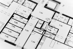 Nadruk op een architectonisch plan Stock Foto's