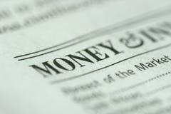Nadruk op Geld Stock Foto's