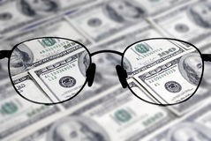 Nadruk op het Geld voor Zaken Stock Foto