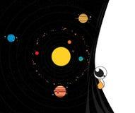 nadruk op: Het Knippen van MercuryWith van het Venus van de aarde Weg Planeten vectorillustratie Stock Foto