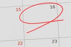 Nadruk op nummer 16 in kalender en lege rode ellips royalty-vrije stock afbeelding