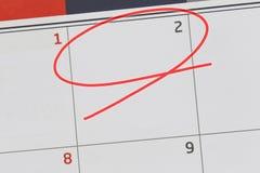 Nadruk op nummer 2 in kalender en lege rode ellips royalty-vrije stock afbeelding