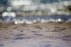 Nadruk op strand, bokeh royalty-vrije stock fotografie