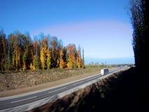 Nadruk op witte lijnen en pijlen als wegtekens en banden van auto's stock video
